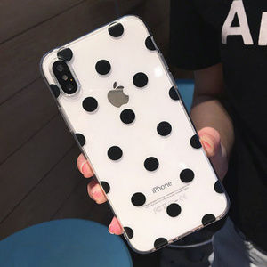 Accessories - Clear Black Polka Dot iPhone Case 7 8 Plus X XS XR